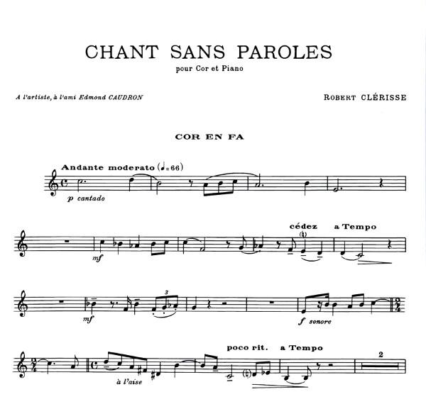 Clerisse Robert Chant Sans Paroles Für Horn Klavier